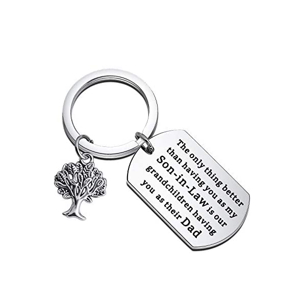 BEKECH Son-in-Law Keychain The Only Thing Better Than Having You As My Son-in-Law is Our Grandchildren Having You As Their Dad Keychain Wedding Gift Jewelry Son-in-Law Gifts