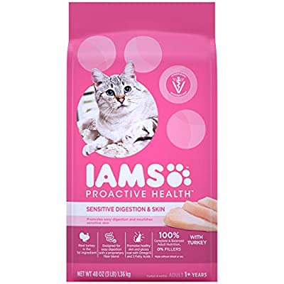 IAMS PROACTIVE HEALTH Adult Sensitive Digestion & Skin Dry Cat Food with Real Turkey Cat Kibble, 3 lb. Bag