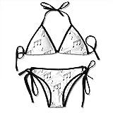 Halter Trajes de baño Plunge Bikini Música Notas musicales Melodía Sonata Canción Song Clef Tune Imagen dibujada a mano Traje de baño gris carbón