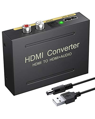 eSynic 4K HDMI Audio Extractor HDMI to HDMI + Optical TOSLINK SPDIF + Analog RCA L/R Stereo Audio Video Spiltter Adapter Converter Support 4K@30Hz 1080P Full HD 3D for Blu-ray Player PS3 PS4