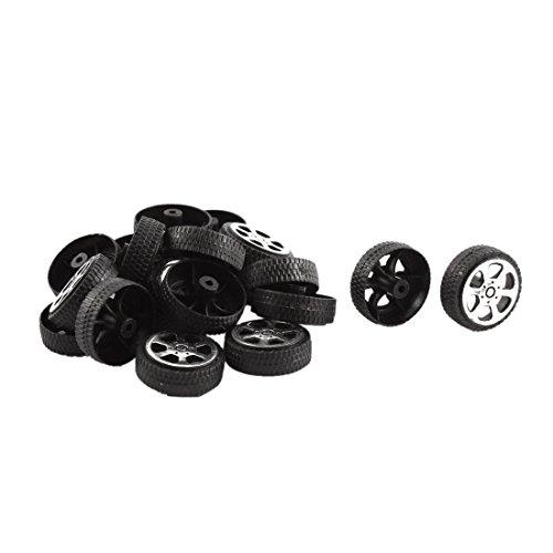 Ruedas de juguete - SODIAL(R)Rollo de plastico 2 mm diametro eje Ruedas de juguete de modelo de camion coche 20mmx6mm 20pzs