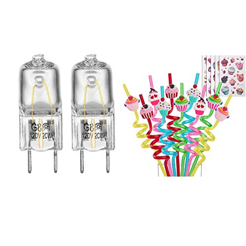 Better Together 2 Pack Light Bulb Fits for GE Microwave Oven with 20 Reusable Cupcake Straws