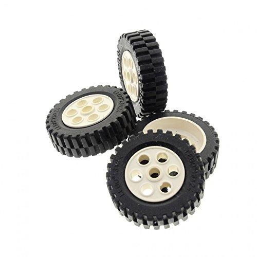 4 x Lego Technic Rad schwarz weiss 30mm D. x 13mm Räder 13 x 24 Felge Technik Model Team 2696 2695c01