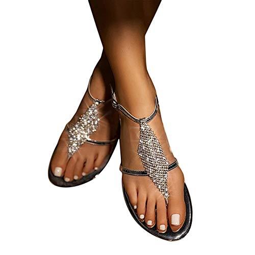 MTHDD Sandales Femme Strass Chaînes String Gladiateur Sandales Plates Chaussures en Cristal,C,43