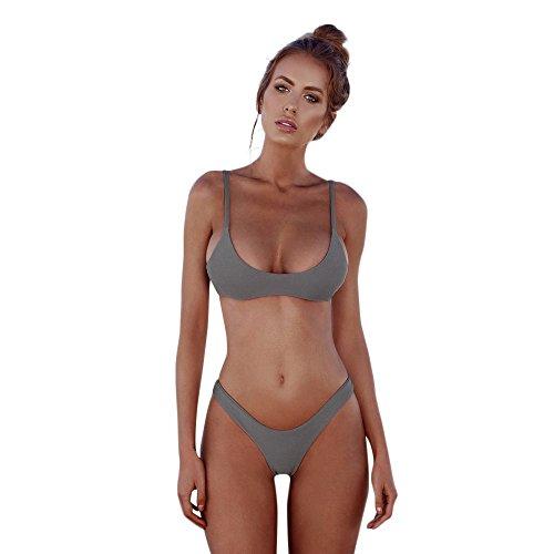 TEBAISE Strand Boho Bikini-Sets Tankinis Damen Neckholder Badeanzug Bikini Set Halter Push Up Zweiteiliger Badeanzüge Bikinis Einfarbig Bademode Bandeau 2019 Sommer Beachwear Für Frauen Mädche