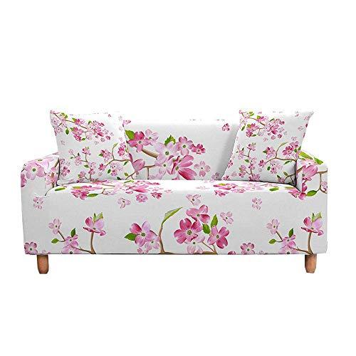 3D rosa grüne Blumen Stil Spandex Möbel Couch Cover, elastische Sofa Abdeckung Settee Slipcovers, Super weiche stilvolle Couch Abdeckungen für Hunde Haustiere Katzen Jacquard Spandex Non Slip Sofa