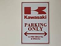 ブリキ看板 20×30㎝ カワサキ PARKING ONLY 駐車場用 バイク 看板 アメリカンガレージ アンティーク インテリア tin 【A】