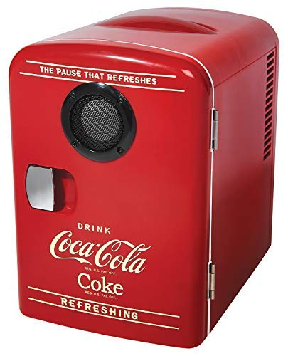 Coca-Cola 6 latas AC/DC Retro Enfriador con altavoz Bluetooth por Koolatron (4.2 cuartos de galón/4 litros)
