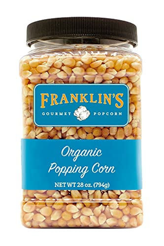 Franklin's Gourmet Popcorn Certified USDA Organic Popcorn Kernels - 28oz. Tub - Delicious Old Fashioned Unpopped Kernels, All Natural - Authentic Movie Theater Popcorn Taste – Made in USA