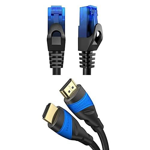 KabelDirekt Bundle, 0.25 m, Cable de red, Ethernet, cable LAN y Patch y cable HDMI 4K de 4 m (4K@120Hz y 4K@60Hz, High Speed con Ethernet, HDMI 2.0)