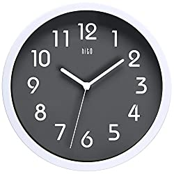 hito Silent Wall Clock Non Ticking 10 inch Excellent Accurate Sweep Movement Glass Cover, Modern Decorative for Kitchen, Living Room, Bathroom, Bedroom, Office (Gray)