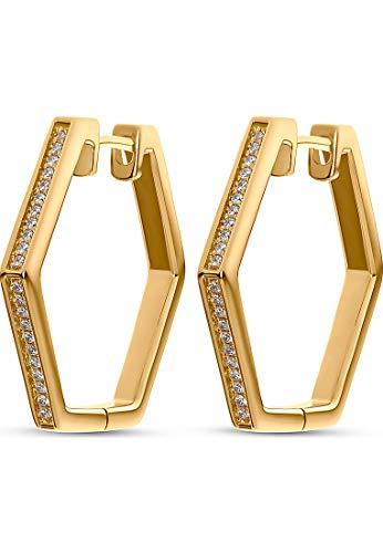 JETTE Silver Damen-Creolen Hexagon 925er Silber 44 Zirkonia One Size Gold 32010628
