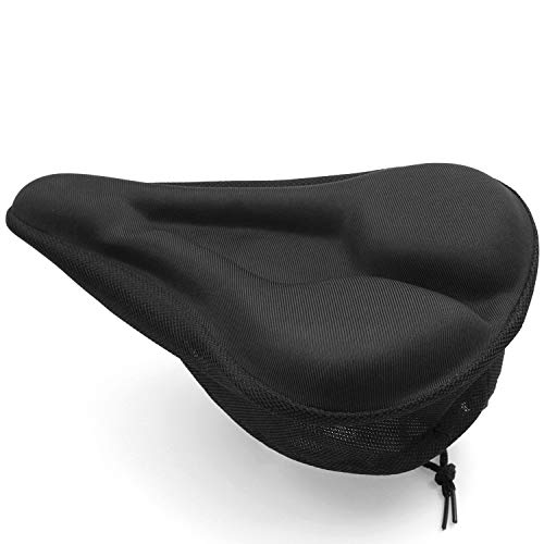 LUPO Gel Bike Seat Cover - Bicycle Saddle Soft Padded Cushion with Non Slip Pads for Road, Mountain, Exercise Bike - Spin Bike Seat Cover