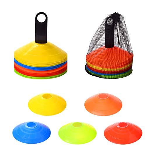 YSBER 25-teiliges Agility-Kegel-Set, 5 Farbmarkierungen, 19,1 cm runder Kegel, Sicherheits-Fußball-Trainingshütte, geeignet für Kindertraining, Sportfeld, mit Kunststoffhalterung.