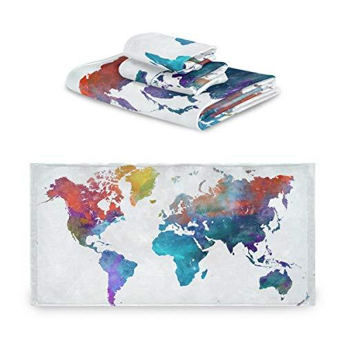 CaTaKu Juego de toallas de 3 piezas con mapa del mundo, 1 toalla de baño, 1 toalla de mano, 1 toalla de mano, toalla de mapa, juego de 3 toallas suaves multifunción, para el hogar, cocina, hotel, gimnasio, natación, spa.