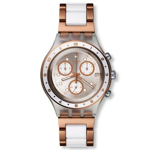 Swatch SVCK4080AG Hat Trick Plata Oro Rosa Chrono Dial Reloj de Las Mujeres de Acero Nuevo