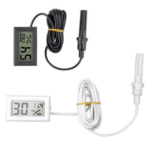 yanQxIzbiu Premium Thermometer Hygrometer, Portable Mini LCD Digital Temperature Humidity Meter A Probe White