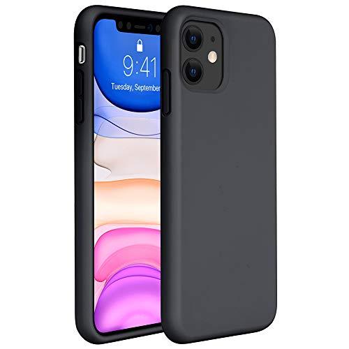 """Miracase FlüssigSilikon Hülle Kompatibel mit iPhone 11 (6,1""""), Liquid Silicone Case, Kratzfeste Handyhülle mit Rundumschutz, Schwarz"""