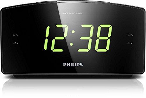 Philips AJ3400/12 Radiowecker/Uhrenradio (Großes Display, Zwei Weckzeiten, Digitaler UKW-Tuner, Sleep-Timer) schwarz