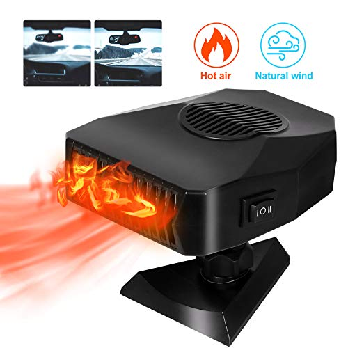 Portable Car Heater or Fan 12V 150W Fast Heating & Cooling Car Defogger Car Defroster Plug in Cigarette Lighter Heater