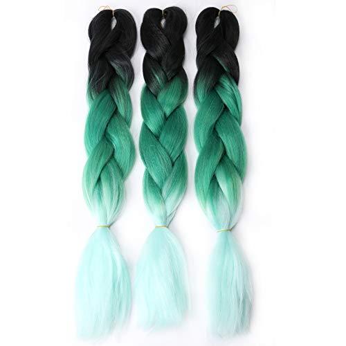 VOKEYLA Ombre Braiding Hair Green Kanekalon Hair Extensions for Box Braids Senegal Twist Crochet Braids 3pcs Jumbo Braiding Hair High Temperature Synthetic Fiber for Women(Color:Black/Green/Mint)