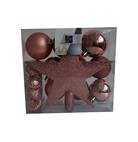 Kit 18 décorations de sapin - Boule et cimier - Rose