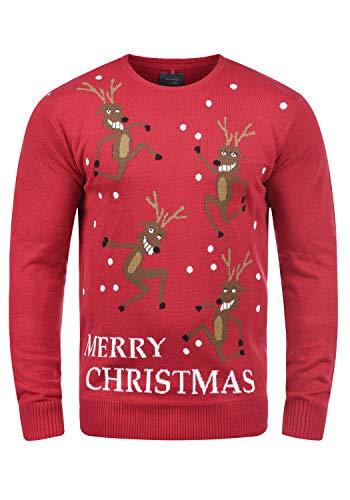 Blend Rudolph - Maglione da Uomo, taglia:XXL, colore:Pomp Red/Christmas (73859)
