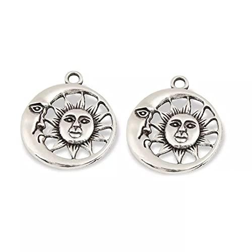 FGHHT 10 unids/Lote Color Plata Luna y Sol con encantos de Cara Colgante de Naturaleza DIY encantos Hechos a Mano paraHacer 29,5x25,5mm