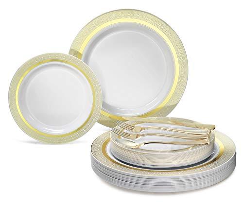Occasions 720 PCS / 120 Guest Hochzeit Einweg-Kunststoff-Teller und Besteck Combo Set (Palace White & Gold)