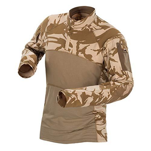 Mens Militaire de Camouflage Tactique Suits Manches Longues en Coton Respirant Combat Vêtements Chasse extérieur Costume de Formation England Desert XL