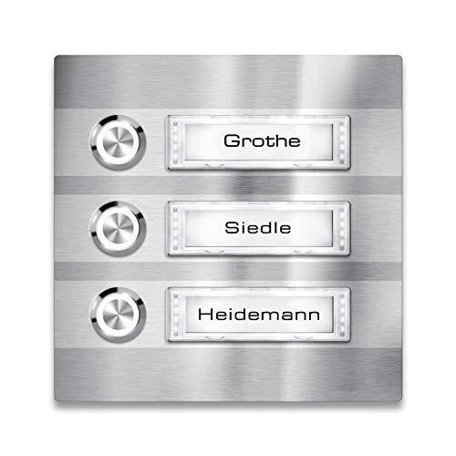 Metzler Türklingel - 3-fach Klingelplatte Edelstahl - Namensschild austauschbar - LED-Taster & Beleuchtung (optional) (Namensschild mit Beleuchtung, LED-Taster Weiß)