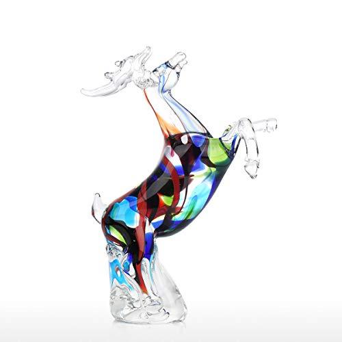 Tooarts Colorful Reindeer Sculpture Handmade Glass Ornament Animal Figurine Tabletop or Home Decor Multicolor