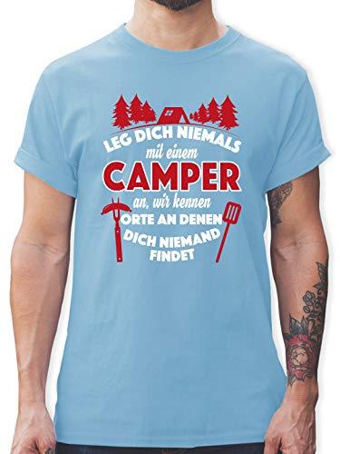 Hobby - Leg Dich Niemals mit einem Camper an - M - Hellblau - L190 - Tshirt Herren und Männer T-Shirts