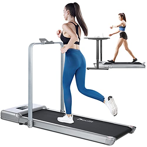 Foldable Treadmill for Home Use, Doufit 2 in 1 Under Desk Treadmill for Small Spaces, Indoor Electric Workout Walking Jogging Exercise Machine with Remote Control