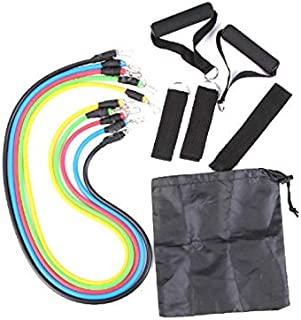 11pcs Latex Resistance Fitness Bands Exercise Tube Rope Set Yoga Workout Equipment