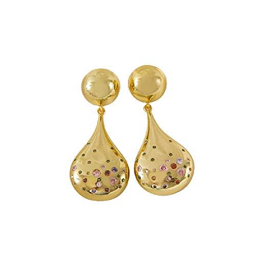 Pendientes de cobre cadena larga pendientes colgantes joyería de moda vintage gota oro pendientes para mujeres regalo