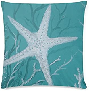 Yunlenb-Square Shaped Pillow Cases Cushion Cover-Living Room Bedding Pillowcase-Best Home Decor Gift-Starfish 16x16Inch