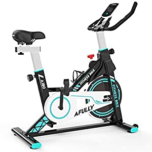 Afully Indoor Exercise Bike, Indoor Cycling Stationary Bike Belt Drive with Adjustable Resistance, LCD Monitor, Pad/Phone Holder, Comfortable Cushion Stable and Quiet for Home Cardio Workout(A180)