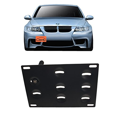 JGR Racing JDM Car No Drill Tow Eye Front Bumper Tow Hole Hook License Plate Mount Bracket Holder Relocation Kit for BMW 3 Series E36 E46 E90 E91 E92 E93 318 320 323 325 328 330 335 M3 1992 to 2012