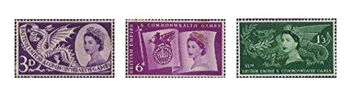 """Set mit 3 Briefmarken """"1958Sixth British Empire and Commonwealth Games, Cardiff GB"""" –einwandfreier Zustand"""