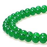 jarc Cuentas Para Pulseras Energéticas Pulsera de Yoga Pulsera DIY Cuentas de Piedra Jade Verde 38 Piezas, 34 cm, 10 mm