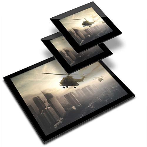 Destination Vinyl ltd - Mantel individual de cristal, 20 x 25 cm y 2 posavasos de 10 x 10 cm - Apache Helicóptero Paisaje urbano lugar de trabajo/estera de mesa/comedor/lavable/impermeable #14313