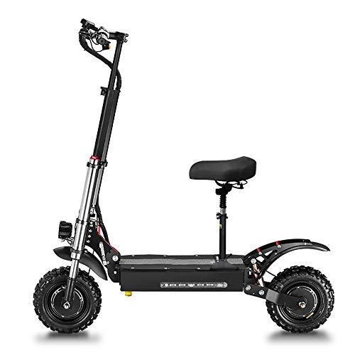 GUNAI Elektrische scooter 5400W Dubbele motor 85 km/u Dubbele ophanging LED-koplampen Opvouwbare scooter voor 11 inch all-terrain banden met zitje en 60V batterij Geschikt voor alle terreinliefhebbers