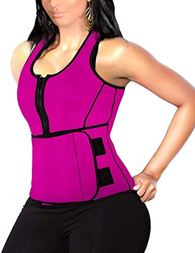 Hopgo Waist Trainer for Women Sauna Suit Tank Top Vest Corset Waist Cincher for Weight Loss Workout Slimming Body Shaper 3XL Rose red