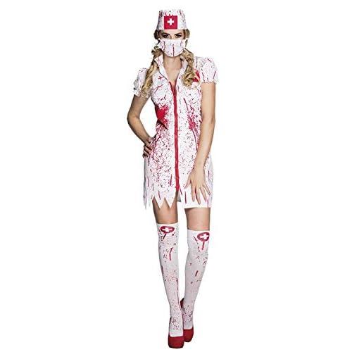 Boland 79097 Costume da Infermiera Horror, da Adulto, Taglia 36/38, Bianco/Rosso