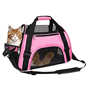 TIYOLAT Pet Carrier Bag, Airline Approved Duffle Bags, Pet Travel Portable Bag Home for Little Dogs, Cats and Puppies, Small Animals (Pink)