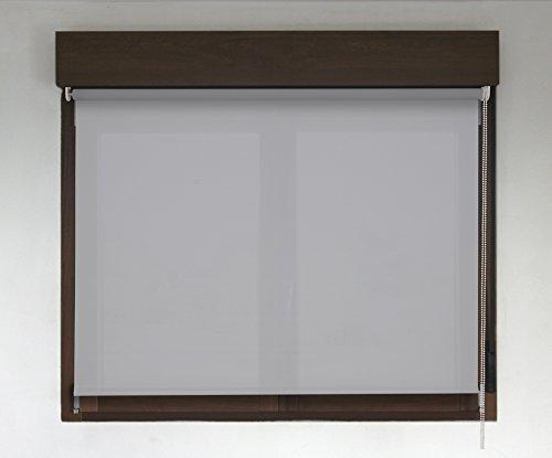 Estor Enrollable TRANSLÚCIDO Premium (Desde 40 hasta 300cm de Ancho/Permite Paso de luz, no Permite Ver el Exterior/Interior). Color Gris Claro. Medida 220cm x 160cm para Ventanas y Puertas
