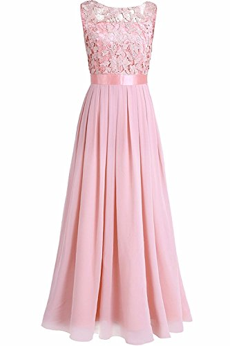 YiZYiF Damen a-line ärmelloses kleid rosa ( rosa pearls) uk 10.5