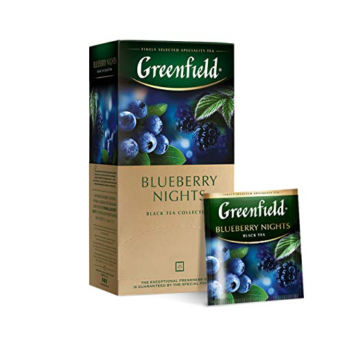 Greenfield Blueberry Nights, Black tea, Hibiscus, Blueberry, Blackcurrant leaves, Mallow, Schwarzer Tee, Hibiskus, Blaubeere, schwarze Johannisbeere, Malve, 25 Teebeutel (1,5g x 25), 37,5g