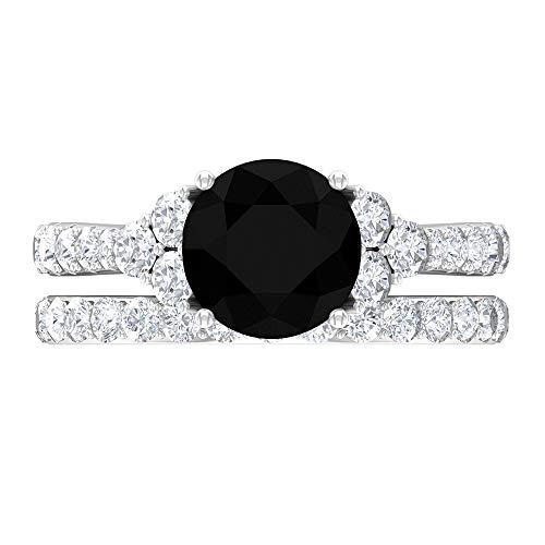 Anillo de ónix negro de 8 mm, D-VSSI Moissanite, anillo de novia, 7 anillos de piedra, anillo solitario con piedras laterales, 14K Oro blanco, ónix negro, Size:US 53